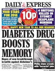 Daily Express (UK) Newspaper Front Page for 1 January 2018