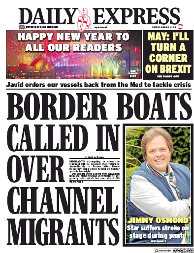 Daily Express Newspaper Front Page (UK) for 1 January 2019