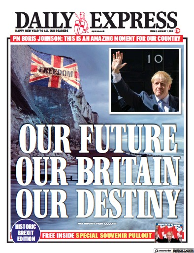Daily Express Newspaper Front Page (UK) for 1 January 2021