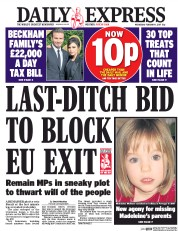 Daily Express (UK) Newspaper Front Page for 1 February 2017