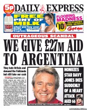 Daily Express (UK) Newspaper Front Page for 1 March 2012