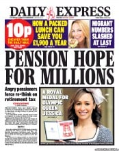 Daily Express () Newspaper Front Page for 1 March 2013