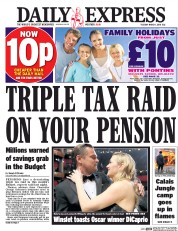 Daily Express (UK) Newspaper Front Page for 1 March 2016