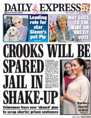 Daily Express (UK) Newspaper Front Page for 1 March 2019