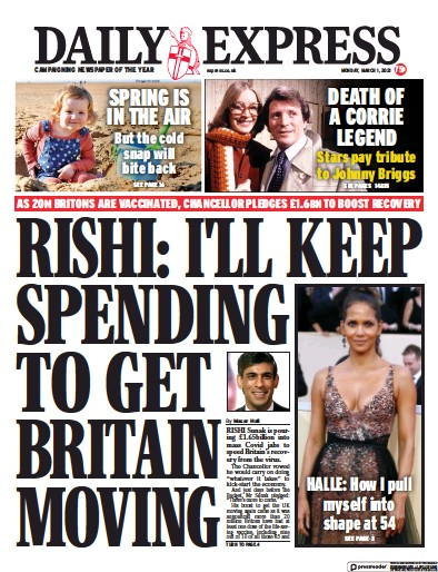 Daily Express Newspaper Front Page (UK) for 1 March 2021