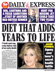 Daily Express Newspaper Front Page (UK) for 1 April 2014