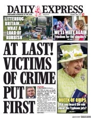 Daily Express front page for 1 April 2021