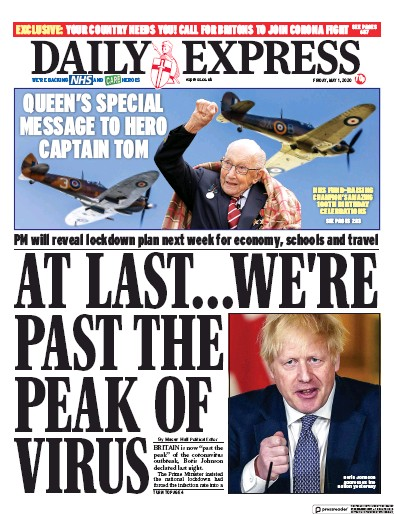 Daily Express Newspaper Front Page (UK) for 1 May 2020