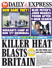 Daily Express (UK) Newspaper Front Page for 1 July 2015