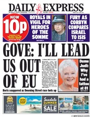 Daily Express () Newspaper Front Page for 1 July 2016