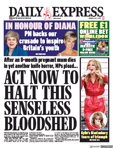 Daily Express Newspaper Front Page (UK) for 1 July 2019
