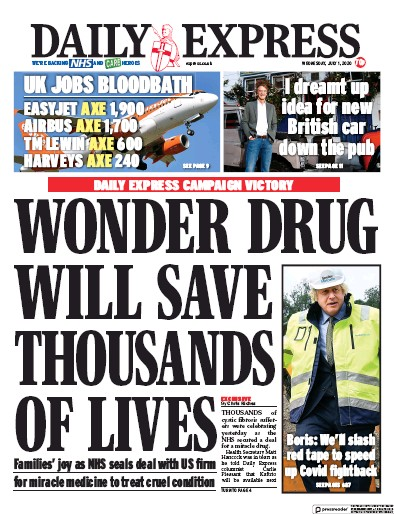 Daily Express Newspaper Front Page (UK) for 1 July 2020