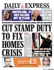 Daily Express (UK) Newspaper Front Page for 1 August 2019