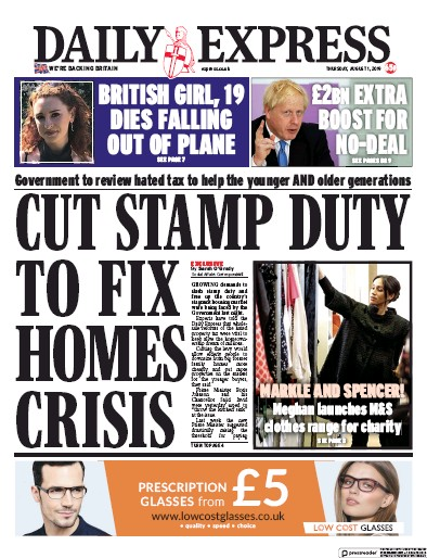 Daily Express Newspaper Front Page (UK) for 1 August 2019