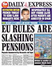 Daily Express (UK) Newspaper Front Page for 1 September 2014