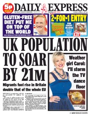 Daily Express (UK) Newspaper Front Page for 1 September 2015