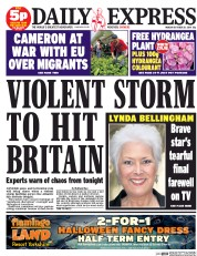 Daily Express (UK) Newspaper Front Page for 20 October 2014