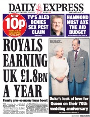 Daily Express (UK) Newspaper Front Page for 20 November 2017