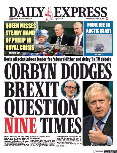 Daily Express Newspaper Front Page (UK) for 20 November 2019