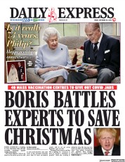 Daily Express front page for 20 November 2020