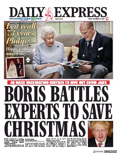 Daily Express Newspaper Front Page (UK) for 20 November 2020