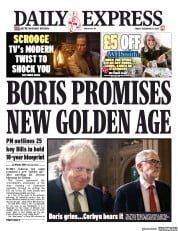 Daily Express () Newspaper Front Page for 20 December 2019