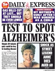 Daily Express Newspaper Front Page (UK) for 20 January 2015