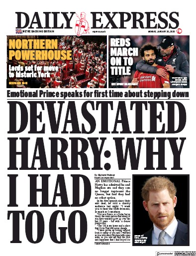 Daily Express Newspaper Front Page (UK) for 20 January 2020