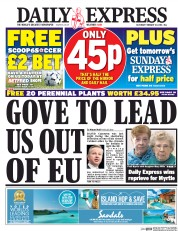 Daily Express (UK) Newspaper Front Page for 20 February 2016