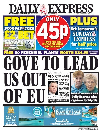 Daily Express Newspaper Front Page (UK) for 20 February 2016