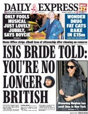 Daily Express (UK) Newspaper Front Page for 20 February 2019
