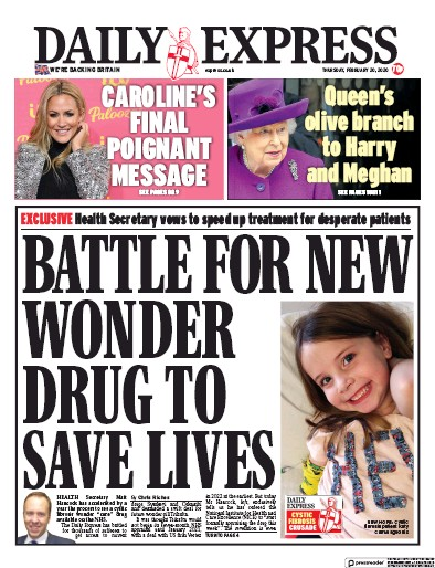 Daily Express Newspaper Front Page (UK) for 20 February 2020