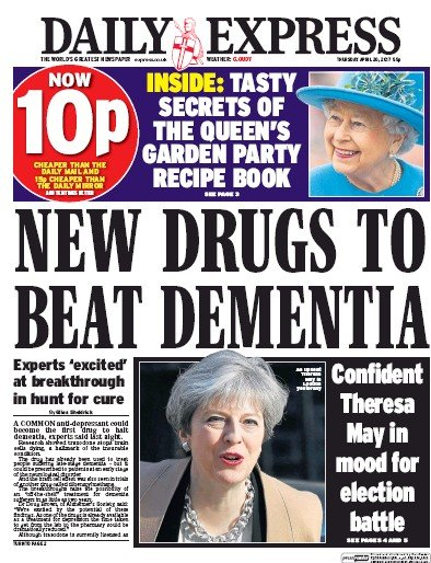 Daily Express Newspaper Front Page (UK) for 20 April 2017