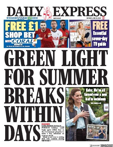 Daily Express Newspaper Front Page (UK) for 20 June 2020
