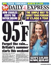 Daily Express Newspaper Front Page (UK) for 20 July 2012