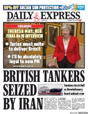 Daily Express (UK) Newspaper Front Page for 20 July 2019