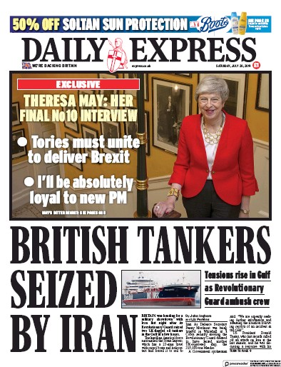 Daily Express Newspaper Front Page (UK) for 20 July 2019