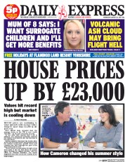 Daily Express (UK) Newspaper Front Page for 20 August 2014
