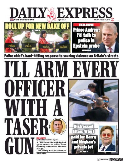 Daily Express Newspaper Front Page (UK) for 20 August 2019
