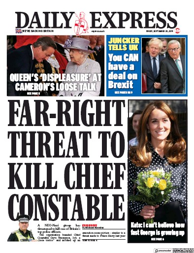 Daily Express Newspaper Front Page (UK) for 20 September 2019