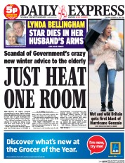 Daily Express (UK) Newspaper Front Page for 21 October 2014