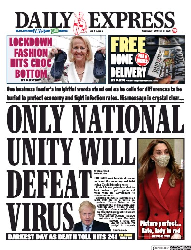 Daily Express Newspaper Front Page (UK) for 21 October 2020