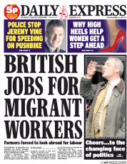 Daily Express (UK) Newspaper Front Page for 21 November 2014