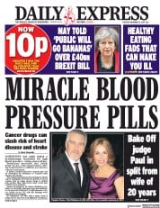 Daily Express (UK) Newspaper Front Page for 21 November 2017