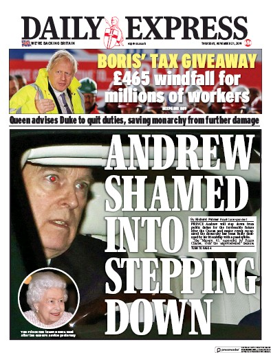 Daily Express Newspaper Front Page (UK) for 21 November 2019