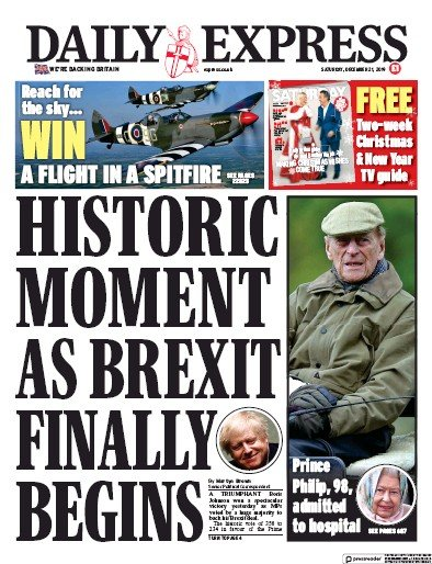 Daily Express Newspaper Front Page (UK) for 21 December 2019