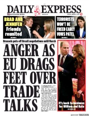 Daily Express (UK) Newspaper Front Page for 21 January 2020