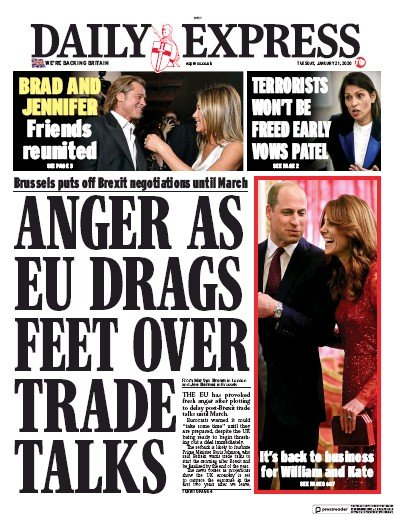 Daily Express Newspaper Front Page (UK) for 21 January 2020