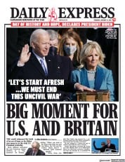 Daily Express front page for 21 January 2021