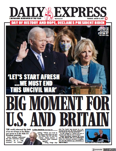 Daily Express Newspaper Front Page (UK) for 21 January 2021